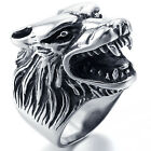 MENDINO Men's Vintage Stainless Steel Ring Wolf Head Gothic Biker Black Silver
