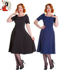 HELL BUNNY BIANCA 50s vintage style PARTY cocktail DRESS occassion BLACK BLUE