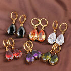 1Pair Stylish Women Gold Plated Waterdrop Rhinestone Copper Dangle Earrings C