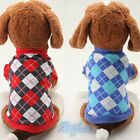 Pet Puppy Sweater Clothes Costume Clothes Grid Coat Cat Dog Hoodies Jacket NEW
