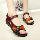Womens Fashion Summer Heel Wedge Soft Leather Sandals comfortable Wedges Shoes