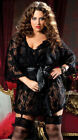 Plus Size Short Lace Wrap Dressing Gown - Size 16 to 22