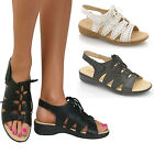Ladies New Wider Fit Sandals Casual Low Wedge Heels Mules Comfort Strappy Shoes