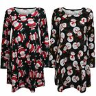 NEW LADIES WOMEN SANTA CHRISTMAS XMAS SNOWMAN SWING FLARED SKATER DRESS TOP 8-20
