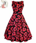 LADY VINTAGE 50's HEPBURN POPPY DRESS floral RED BLACK