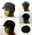 100% Soft Wool (D&Y) Brand Women Cloche Hat w. Bow/Crush-able Bucket Style Cap