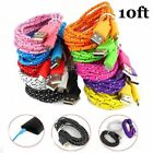 10FT 3M Braided Data Sync MICRO USB Charger Cable FOR Samsung Sony Nokia HTC LG