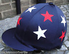 Riding Hat Silk Skull cap Cover NAVY BLUE * RED & WHITE STARS With OR w/o Pompom