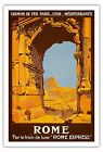 Rome Italy Vatican City Ancient Ruin Vintage Railway Art Poster Print Giclée