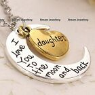 I love you Heart & Moon Silver Necklace Gifts for Her Mum Daughter Grandma Women