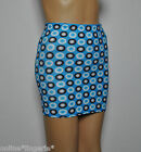 6-8 BLACK BLUE WHITE CIRCLES LYCRA STRETCH SHORT MINI SKIRT PARTY WOMEN CLUB H42