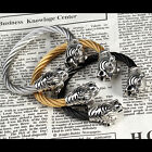 Silver/Gold/Black New Bracelet Tiger Stainless Steel Men's  Fashion Jewelry
