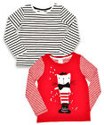 Girls French Kitten Stripe 2 Pack Long Sleeve Fashion Top 12 Months to 5 Years