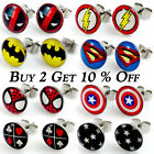 1x Pair Steel Cartoon Superhero Logo Stud Earrings Christmas Gift Jewellery