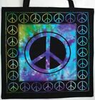 NEW! Unisex Peace Sign BLACK TIE DYE Tote Bag Handbag Diaper Beach Travel Purse