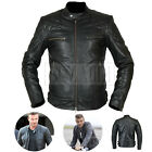 Mens New David Beckham REAL BLACK LEATHER JACKET Vintage Slim Fit Geniune XS-5XL