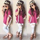 2PCS Toddler Kids Baby Girls Outfits T-shirt Tops Dress+ Denim Pants Clothes Set