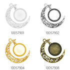 Moon Crescent Pendant Trays fit 16mm Round Cabochons Zinc Alloy Pendants 20PCS