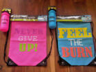 LADIES DRAWSTRING GYM FITNESS BAG & BOTTLE SET WATERPROOF WIPE CLEAN 19x13 inch