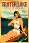 Crater Lake Oregon Travel Poster Canoe Mila Summer Boating Pin Up Art Print 273