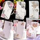 Luxury Bling Diamond Crystal Jewelled Flower Leather Card Flip Wallet Case Cover