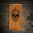 For iPhone 7 6s plus Real Wooden Wood Sugar Skull Phone Case Skin Protector