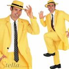 Mens Yellow Gangster Suit Costume The Mask Adult Fancy Dress Outfit