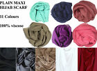 Ladies Maxi Plain Viscose/Rayon Shawl Scarf Hijab Sarong Wrap Cape Big Large