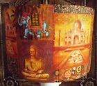 Shabby Chic Lamp Shade,lampshade Indian Patchwork Orange and Gold   Free Gift