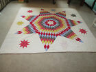 Vintage Antique Handmade Quilt Early 1900's Lone Star Patchwork Quilt