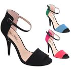New Women's Open Toe High Heel Stiletto w/ Ankle Straps Black Red Blue 5.5 to 10
