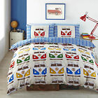 Splitscreen Campervans Designer Vibrant Bright Fabric Quilt Duvet Cover Red Blue