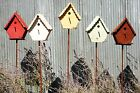 Rustic Recycled Metal Birdhouse Stake With Clean Out Tin Lawn OrnamentYard Decor