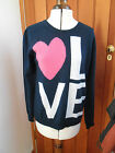 SCOTT & SCOTT SOFT NAVY BLUE LOVE HEART LOGO 100% CASHMERE JUMPER M NEW