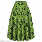 New 1950s Vintage Kitsch Green Cute Cat Lover Flared Mid Length Skirt Pin Up Roc