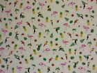 HAPPY FLAMINGOS CURTAINS DRESSMAKING KIDS CHILDREN'S FABRIC PALM TREES PINAPPLE