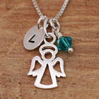 Sterling Silver Personalised Dainty Guardian Angel Pendant Necklace & Birthstone