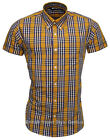 Relco Short Sleeve Bold Check Shirt CK16 Yellow/Blue 60s Button Down Mod Skin