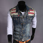Men's New Stylish Denim Vest Weskit Sleeveless Jean Jackets Motorcycle Waistcoat