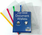 3 X New A5 Zip Seal Document Clear Wallets Waterproof Bags Transparent School