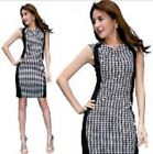 Bodycon Sleeveless Fitted Checked Smart/Business/Party/Casual Dress