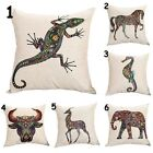 India Colorful Animals Sofa Decor Cotton Linen Pillow Case Throw Cushion Cover