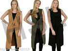 New Women Ladies Long Open Sleeveless Belted Cape Coat