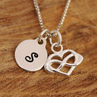 Sterling Silver Personalised Infinity Love Lariat Heart Charms Necklace &Initial