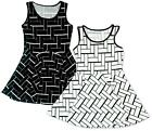 Girls Herringbone Block Pattern Sleeveless Skater Fashion Dress 3 to 14 Years