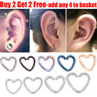 Surgical Steel Heart Ring Hoop Helix Cartilage Tragus Daith Earring Uk Seller