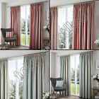 """STRIPED 3"""" TAPE TOP LINED PAIR READY MADE CURTAINS RED CREAM DUCK EGG BLUE TEAL"""