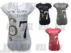 New Women's Ladies New York Print Turn Up Sleeve Curved Hem T Shirt Top