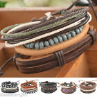 HX 1Set Braided Adjustable Leather Bracelet Punk Jewelry Cuff Women/Men`s Gift