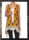 PLUS SIZE BLACK GOLD CROSS FRINGE WESTERN COWGIRL TRIBAL TOP VEST L XL 2X 3X